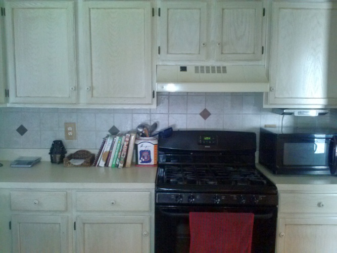 After: painted cabinets look current
