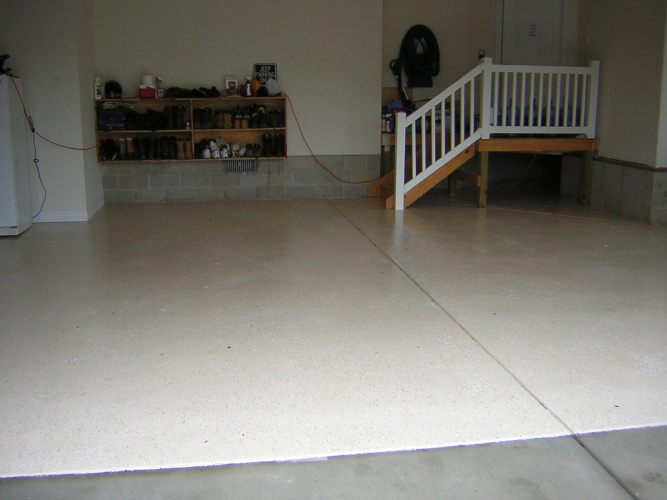 After: epoxy paint helps keep floor clean