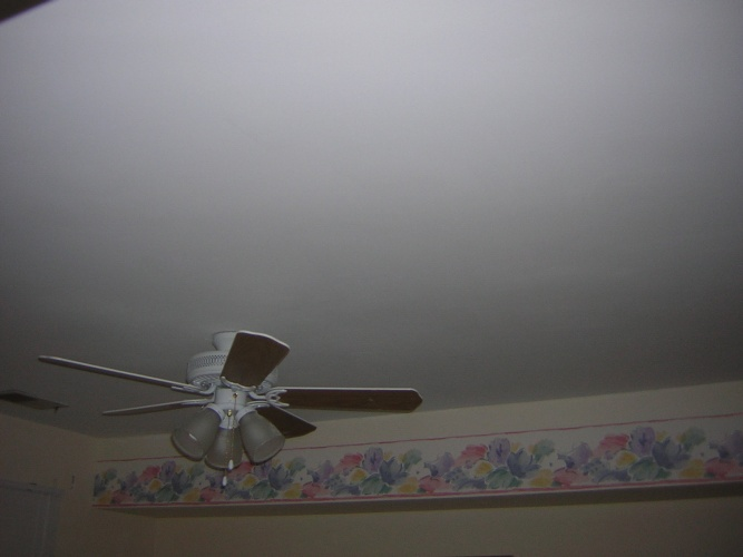 After: stripped, prepped and painted ceiling