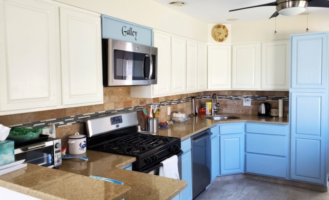 Top and bottom cabinets painted different colors