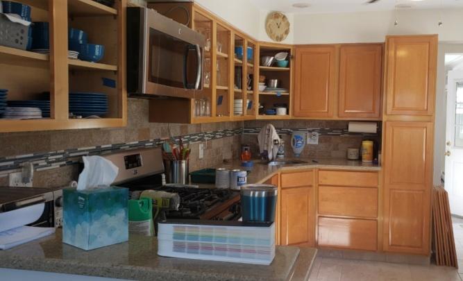 Dated oak kitchen cabinets