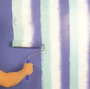 Wall stripes rolled on in 3 colors at once