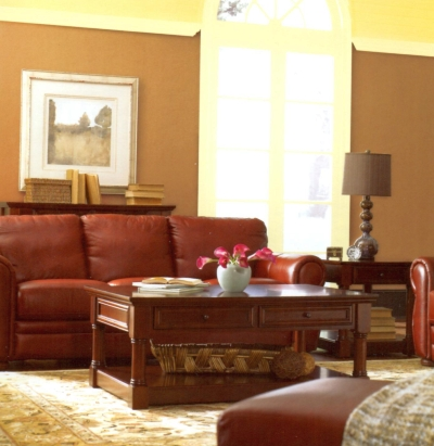Light yellow trim between a bright yellow ceiling and brown walls