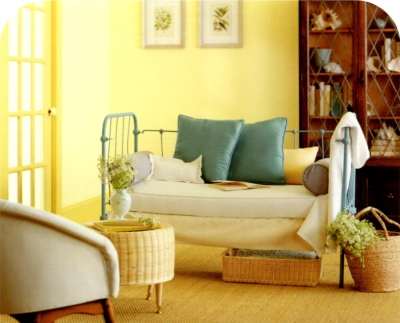 Darker yellow trim with lighter yellow wall color