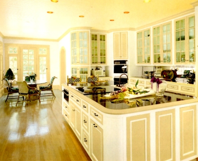 Beige trim in an open concept kitchen area