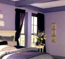 Violet trim in a purple-based room color scheme