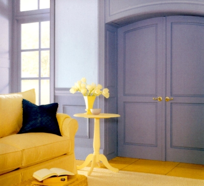 Lavender color woodwork with pale violet walls and yellow furniture and decor