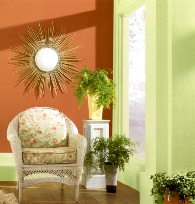 Chartreuse trim with clay colored walls