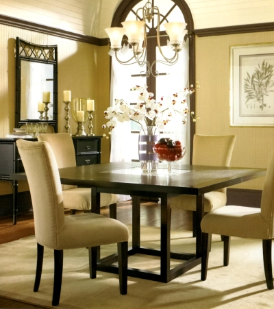 Dark brown trim in an all-neutral room adds structure and punctuation