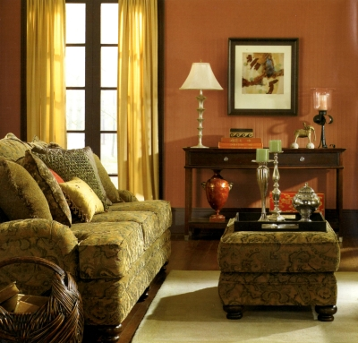 Espresso colored woodwork with medium brown walls in a living room
