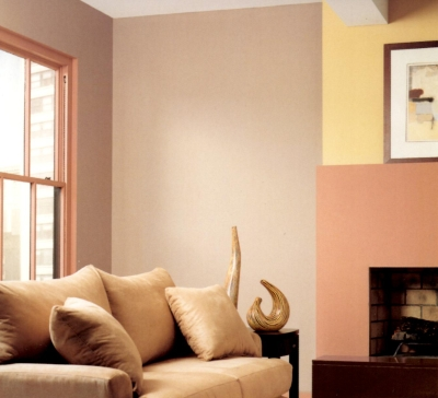 Dirty pink trim in an earthy room color scheme
