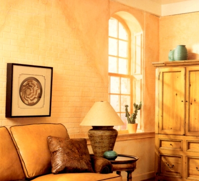Apricot colored trim in a monochromatic room theme