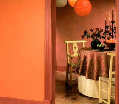 Orange-red trim with tangerine-orange walls