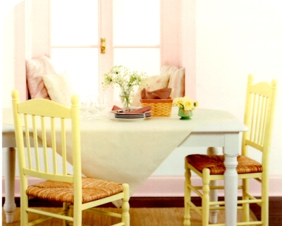 Pink trim in a kitchen/dining area
