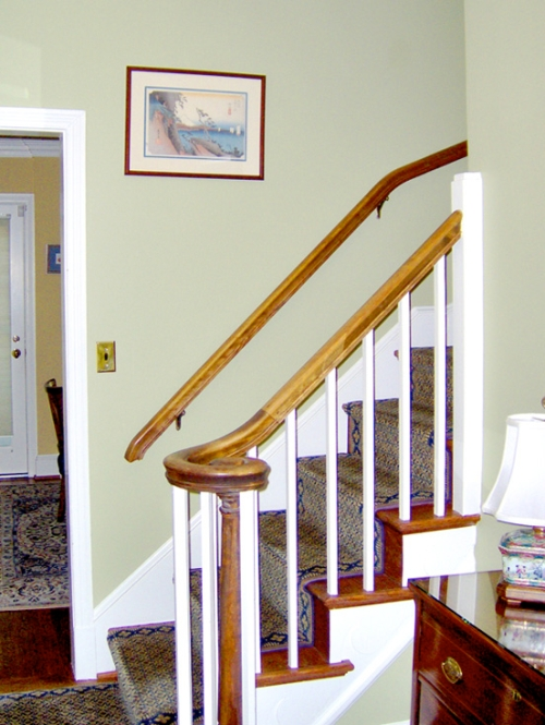 Foyer walls painted a neutral, subtle green color