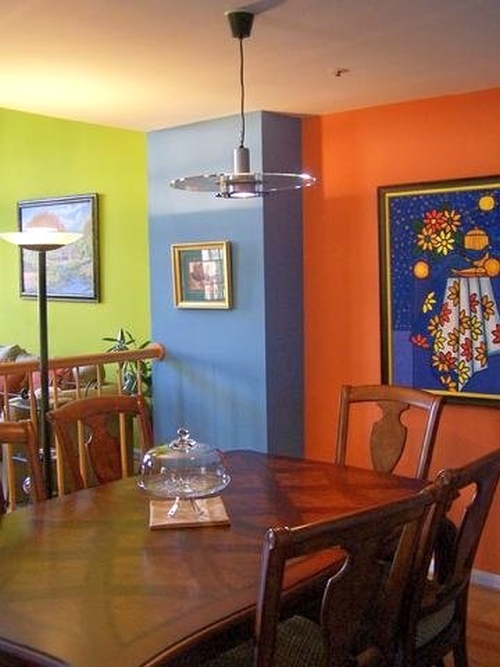 Green, blue and orange bold wall paint color combination