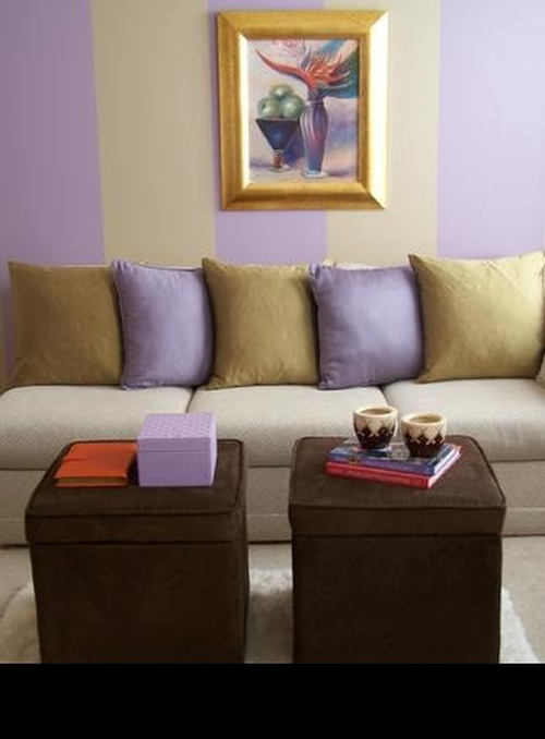 Beige and purple wide vertical painted wall stripes
