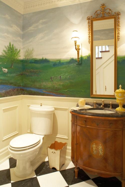 Custom painted mural in a powder room