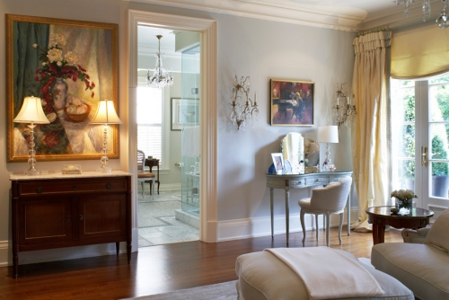 Gray and green wall paint colors in a European style home