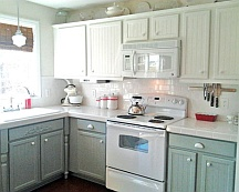 Faux wood graining on kitchen cabinets - New Jersey project