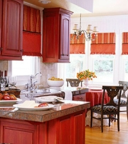 coordinated red kitchen design colors