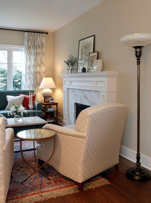Greige walls in a living room with a monochromatic decor color scheme