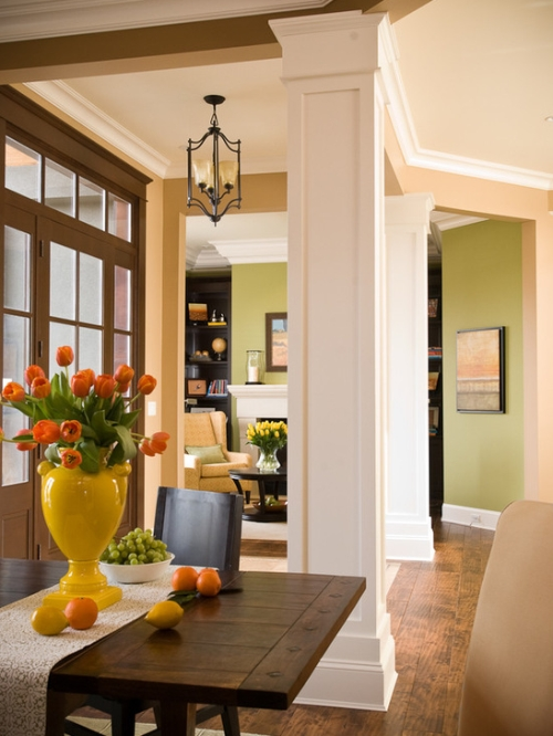 Open floor concept area walls painted brown, beige and green colors