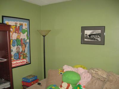 Family room painted a natural shade of green color