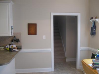 Kitchen leading into the short hallway
