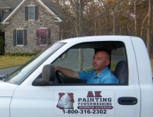 Professionally marked painting truck
