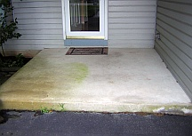 Rust and mildew stains on concrete