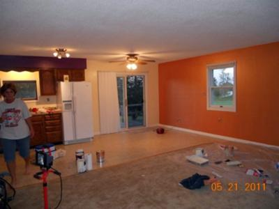 Orange Sherbet paint color on the wall