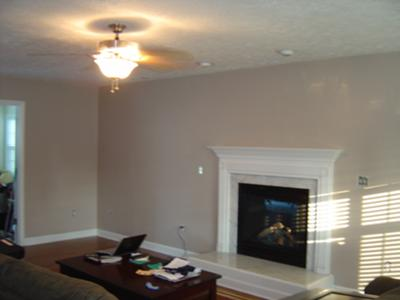 Our freshly painted taupe color family room - Wall taupe ...