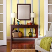 Regular paint stripe patterns are similar to wallpaper