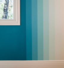 Colorwashed ombre wall stripes