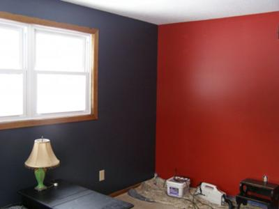 painting idea for a feature wall: crimson red color