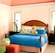 Flesh pink wall paint color is a good choice for a peaceful bedroom