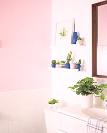 Fresh pink walls in a bathroom can brighten up your complexion in a mirror