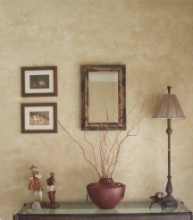Walls ragged off in neutral tones look gracefully aged