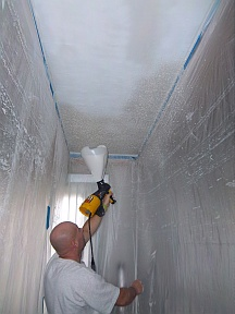 Applying acoustic ceiling