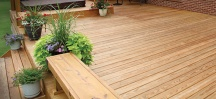 A well maintained wooden deck