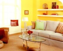 Bright yellow walls can be grounded and balanced with strong accent colors
