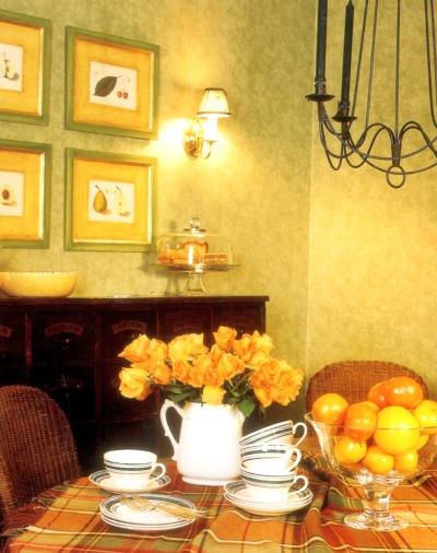 Dense sponged on finish on dining room walls