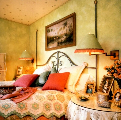 Sponging off in green adds an element of whimsy to this bedroom