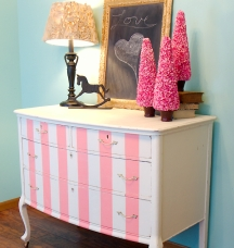Paint stripes are a great way to update an old piece of furniture