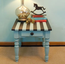 Paint stripes work for children's and adults' furnishings