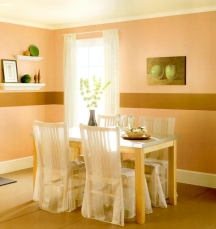 You can imitate trim by painting a white glossy stripe on the walls