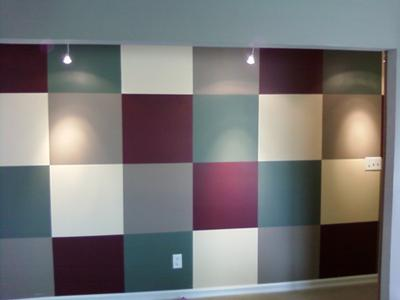 Accent wall with squares painted in different colors