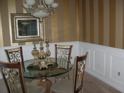 Metallic Gold Stripes In Dining Room