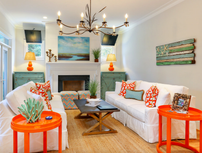 Greige wall color can handle bright decor accents